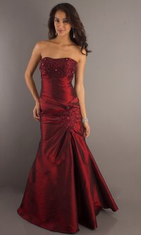 Burgundy Formal Gown, Strapless Prom Dresses- PromGirl