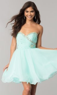 Short Strapless Prom Dresses, Party Dresses