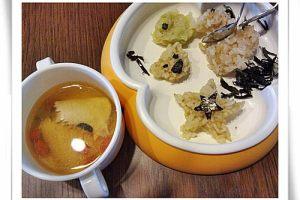 【雨の食事】動物造型飯糰&洋蔘苟杞虱目魚湯
