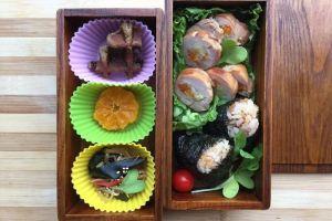 【便當日記】#26日式炊飯御飯糰與筍蔬雞肉捲 Bento #26 Onigiri(Japanese Rice Balls), Chicken And Veggie Rolls