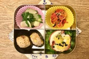 【便當日記】#34 雞蛋火腿派與五目炊飯Bento #34 Egg, Ham and Cheese Pie/ Japanese Mixed Rice