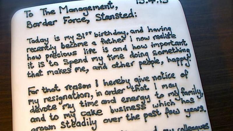 Airport worker bakes resignation letter - resignation letter cake