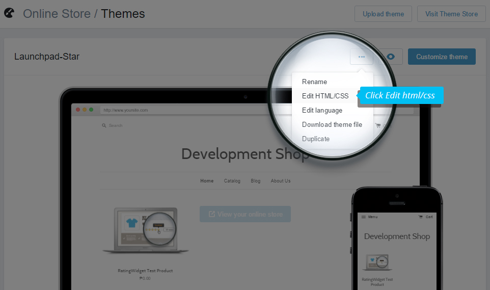 Embed the Code Rating-Widget for Shopify - shopify template