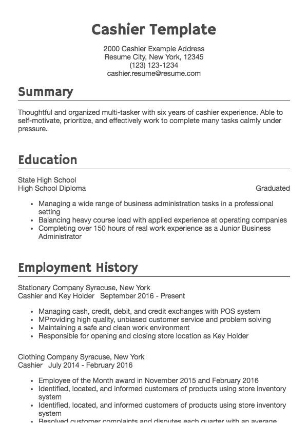 resume for customer service and cashier