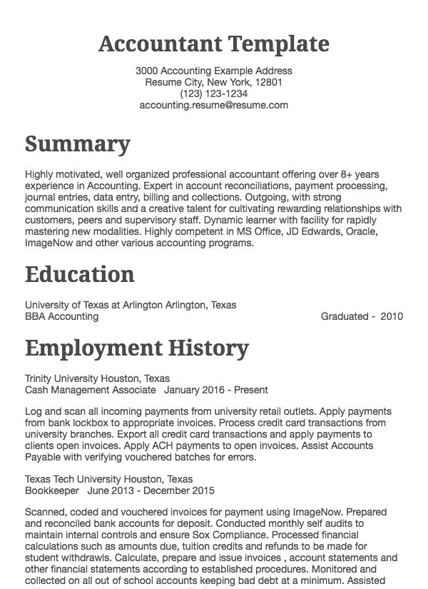 Accounting Resume Sample - Accountant Drafted Examples Resume