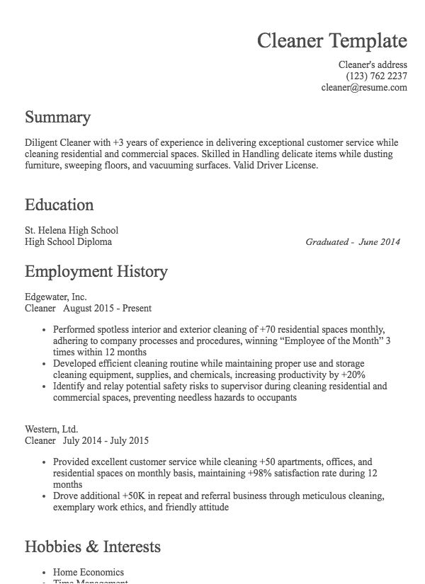 cleaning job resume