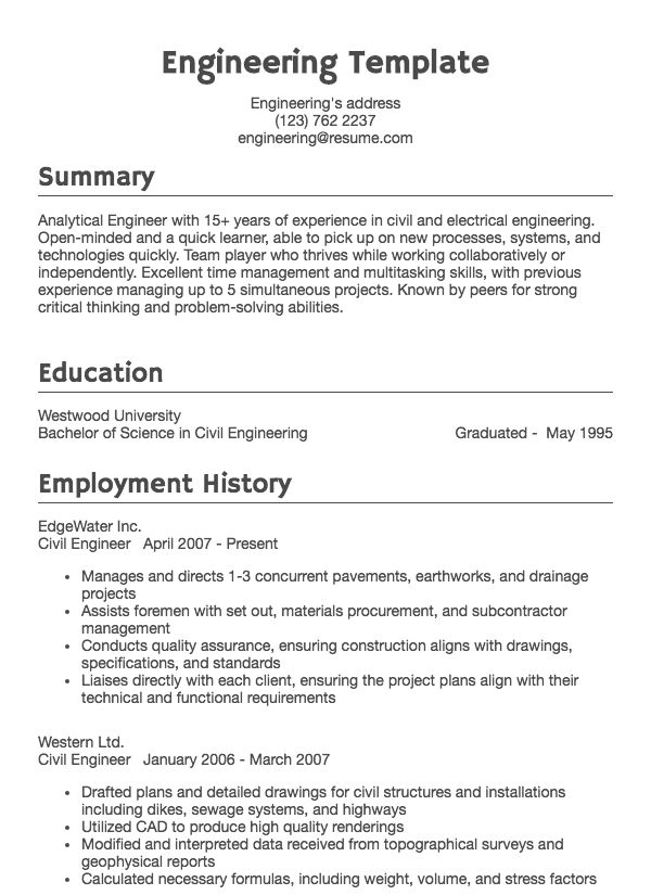 example of good resumes for jobs