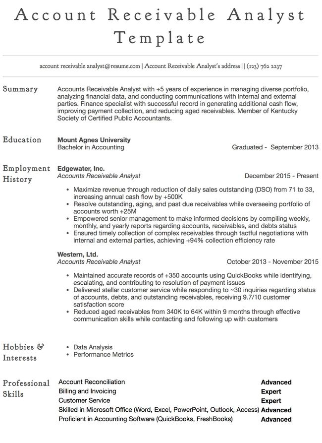 example of financial specialist resume