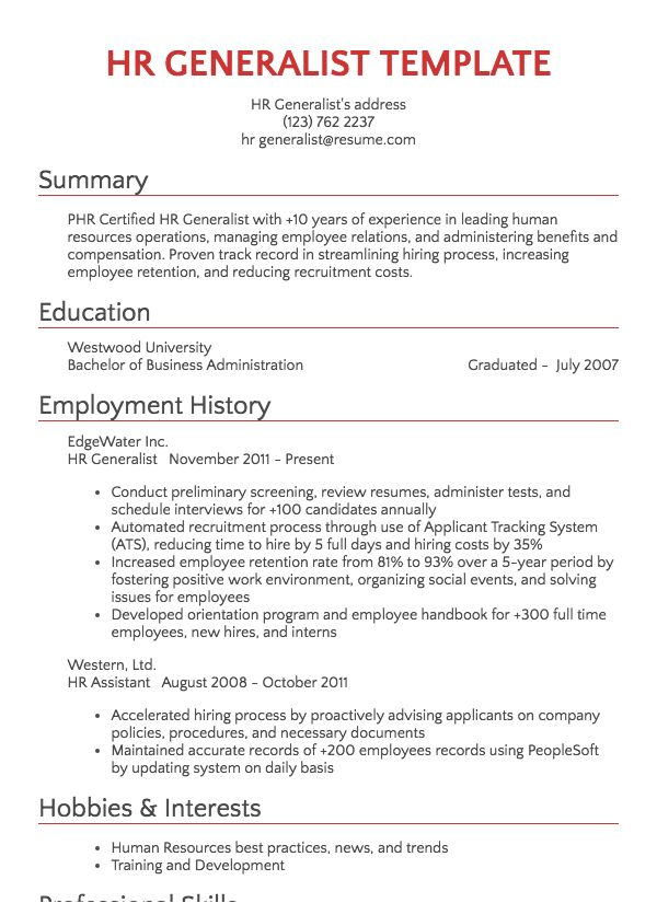 human resources resume samples Resume