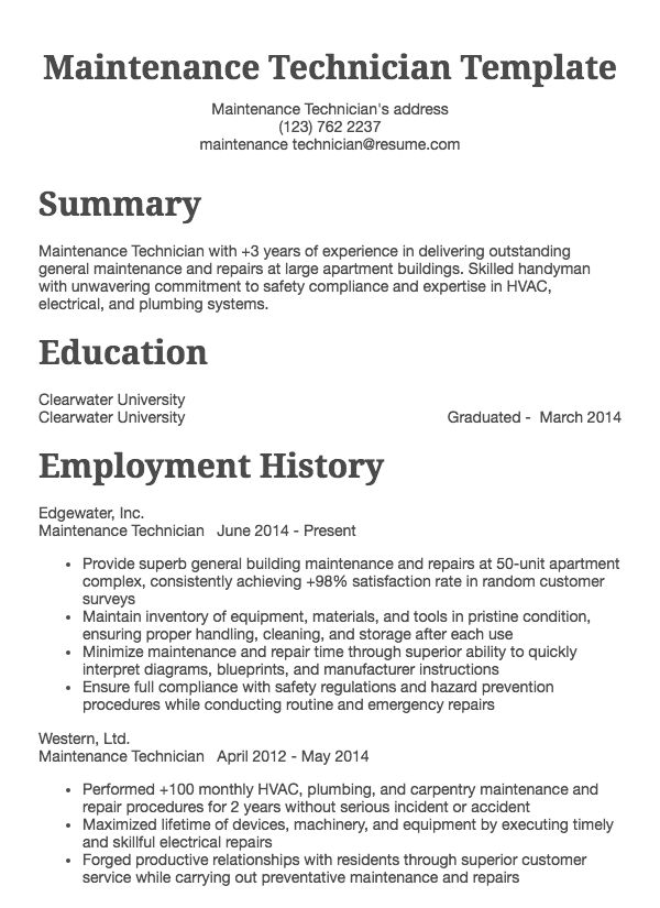 manufacturing and maintenance resume samples Resume