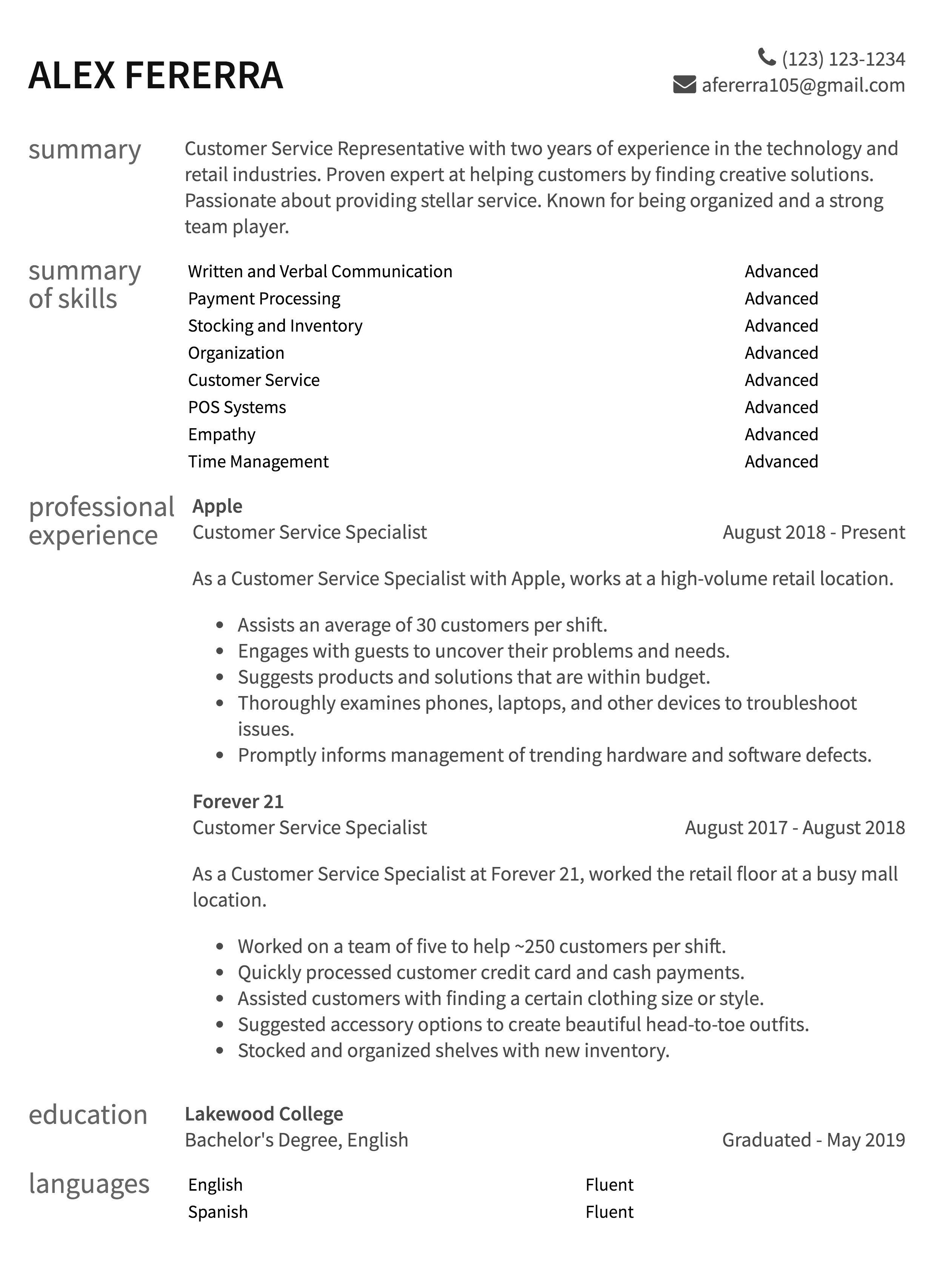 draft resume example