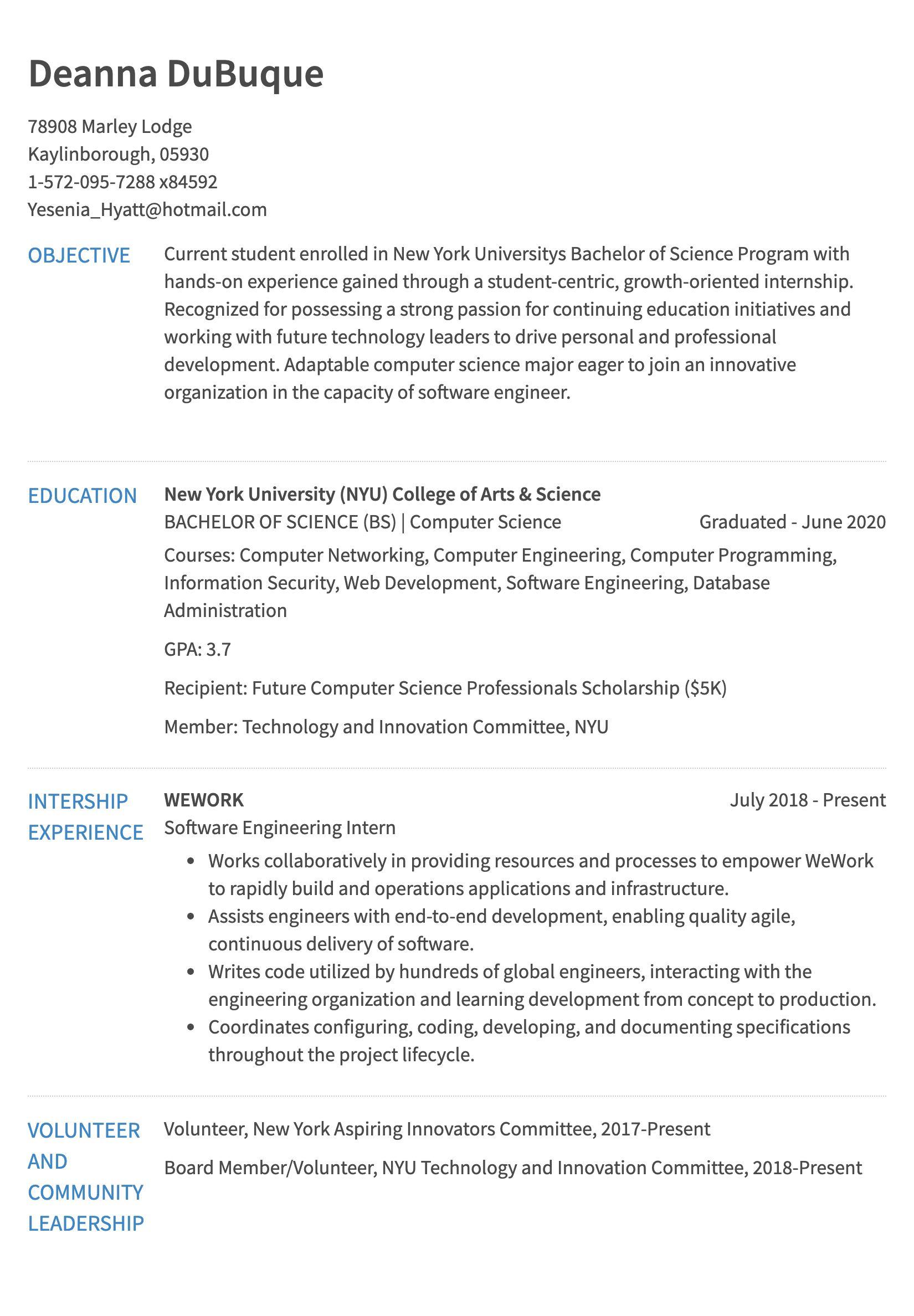 undergrad cs student resume sample