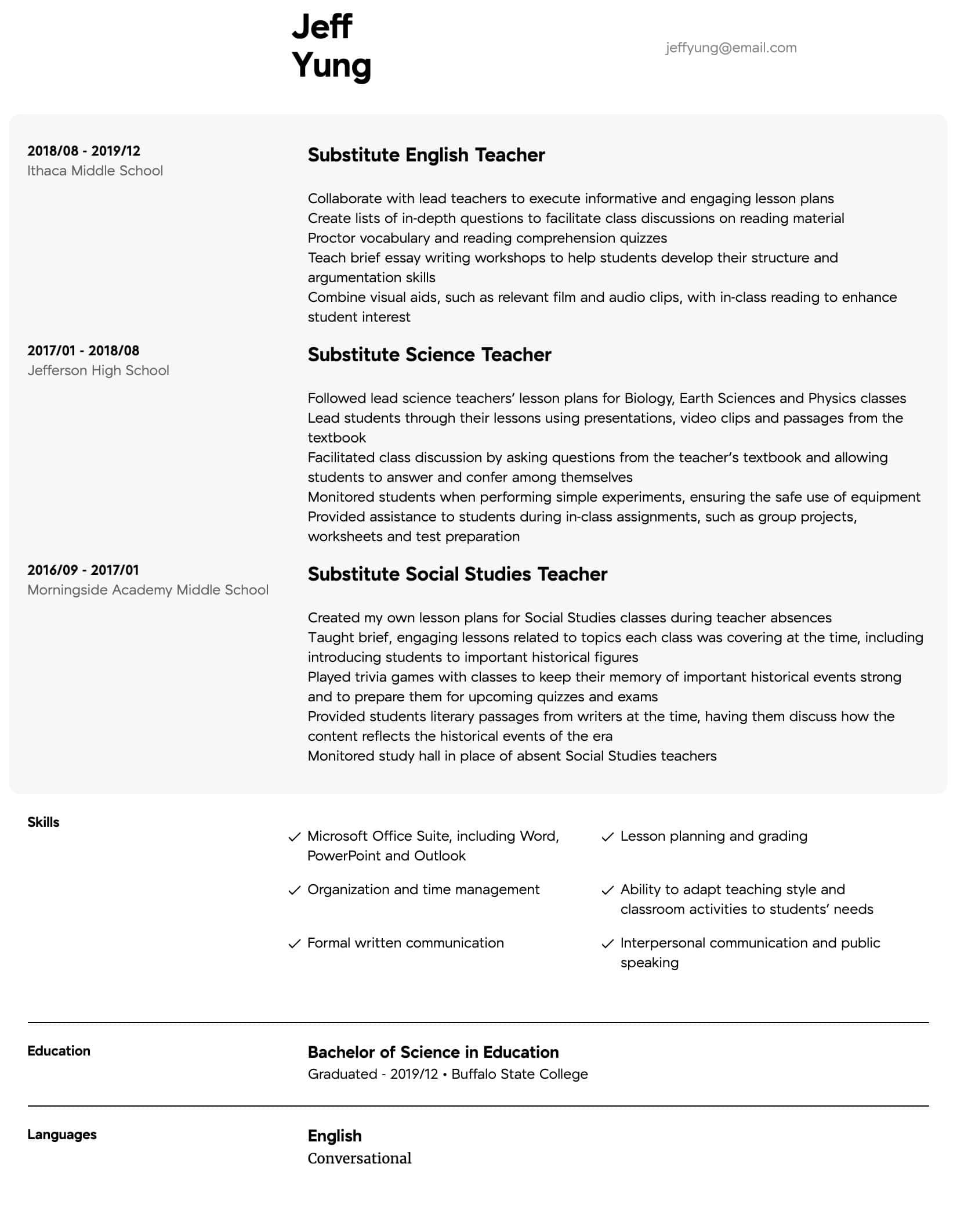 sample resume for new teachers