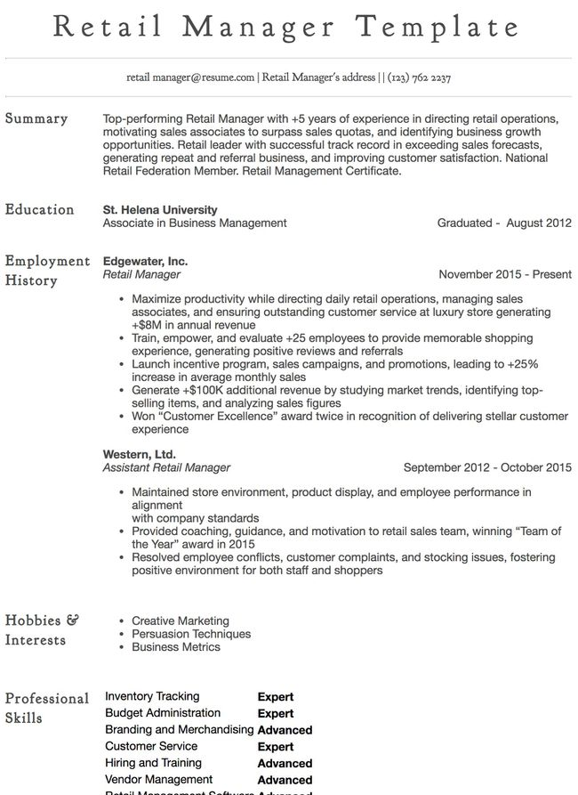 no experience retail resume examples