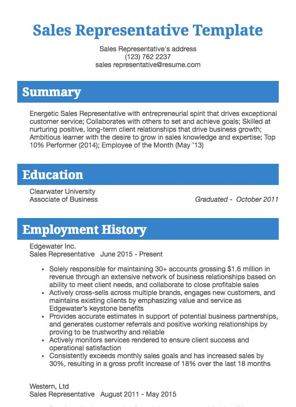 Sales Resume Sample Resume