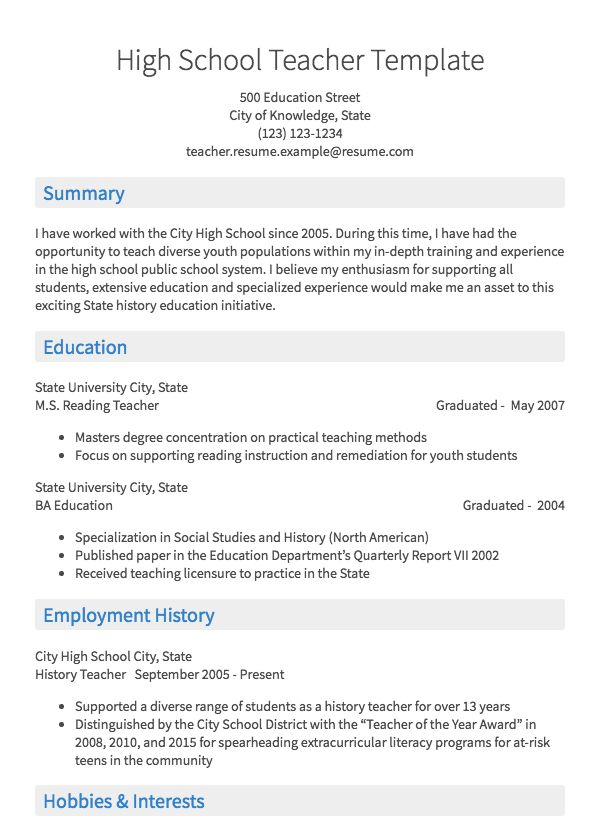 Teaching Resume Sample Resume