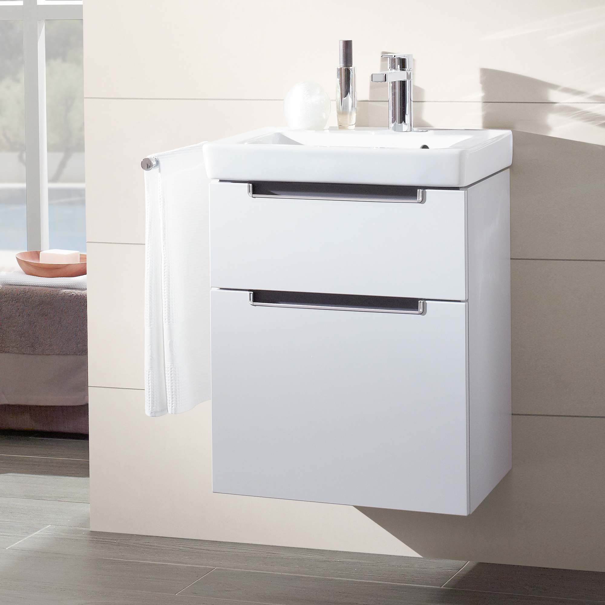 Villeroy Boch Subway 2 Hand Washbasin With Vanity Unit With 2 Pull Out Compartments 7315f0r1 A90710dh Reuter