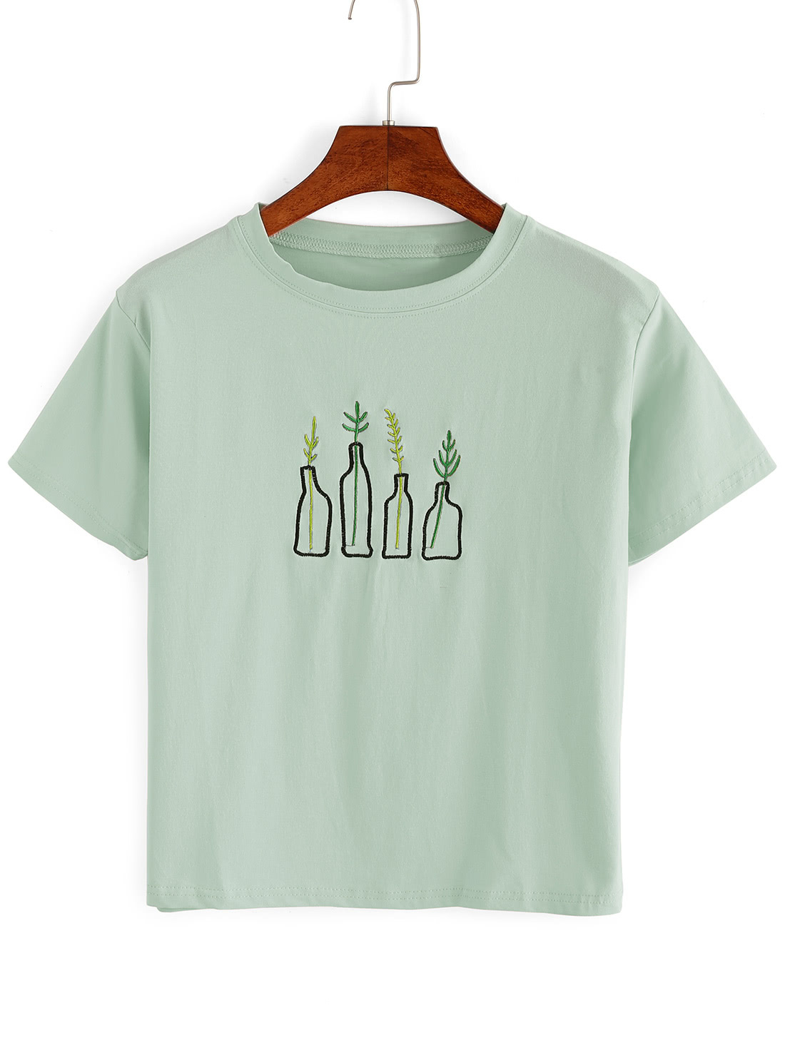 T Short Green Plant Embroidered T Shirt