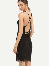 Black Tie Crisscross Back Sleeveless Scallop Hem DressFor ...