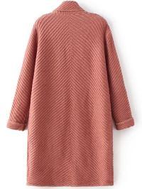 Red Shawl Collar Roll Cuff Long Sweater Coat