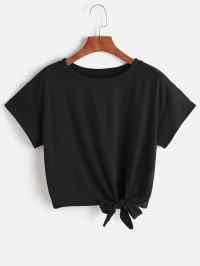 Tie Front TshirtFor Women-romwe