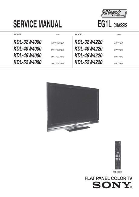 sony kdl 32w4000 kdl 52w4000 kdl 52w4220 tv service manual