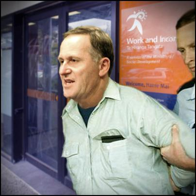 john key being thrown out of work and income office, winz, welfare reform, poverty, obligation, entitlements
