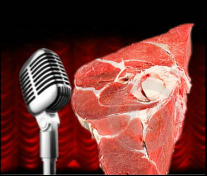 raw comedy, raw meat, microphone, standup