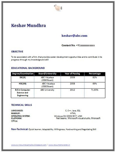 Resume Format For Computer Science Engineering Students Freshers Over 10000 Cv And Resume Samples With Free Down...
