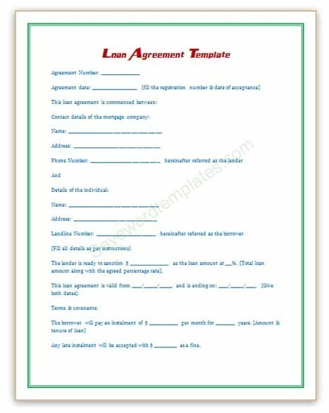 Doc468605 Personal Loan Document Template 5 Loan Agreement – Private Loan Contract Template