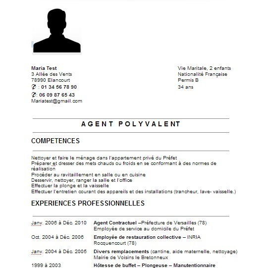 cv francais acteur simple