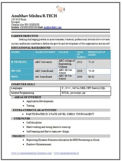 Technical Skills In Resume For Freshers Ece