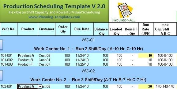 4 work schedule templates