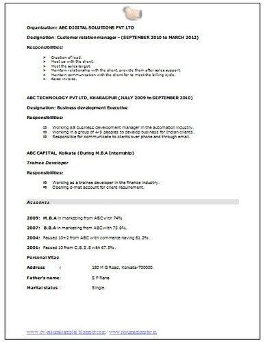 Resume Format For Govt Job In India | Example Good Resume Template