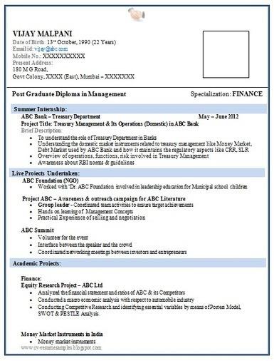 freshers resume for mba