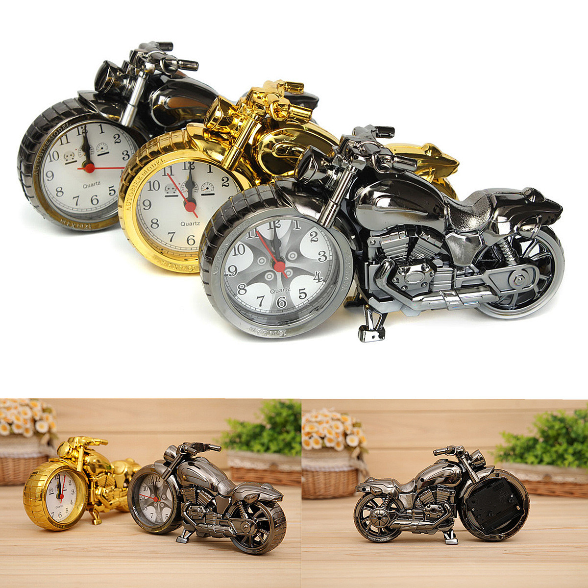 Decoration Maison Moto Horloge Plastique Motorcycle Moto Quartz Alarme Clock