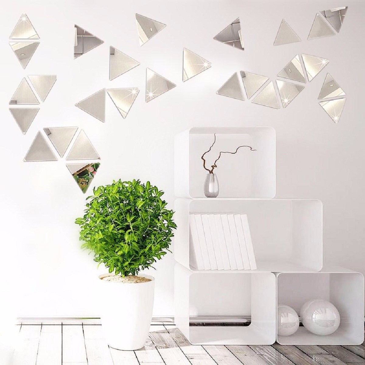 Déco Murale Diy 16pcs Diy Miroir Sticker Autocollant Mural Triangle Moderne Salon