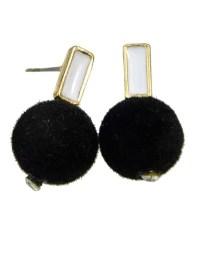 Black Ball Shape Stud Earrings -SheIn(Sheinside)