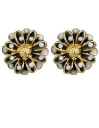 Black Flower Shape Stud Earrings -SheIn(Sheinside)