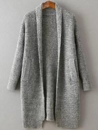 Grey Shawl Collar Drop Shoulder Long Sweater Coat -SheIn ...