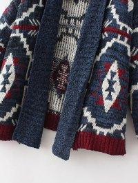 Multicolor Geometric Pattern Shawl Collar Sweater Coat ...