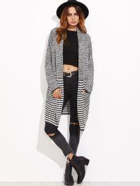 Black And White Striped Shawl Collar Sweater Coat -SheIn ...