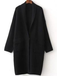 Black Shawl Collar Single Button Sweater Coat -SheIn ...