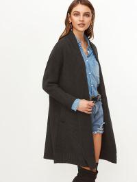 Black Shawl Collar Sweater Coat -SheIn(Sheinside)