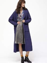 Purple Shawl Collar Longline Sweater Coat -SheIn(Sheinside)