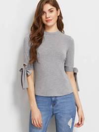 Tie Sleeve Slim Fit T-shirt -SheIn(Sheinside)