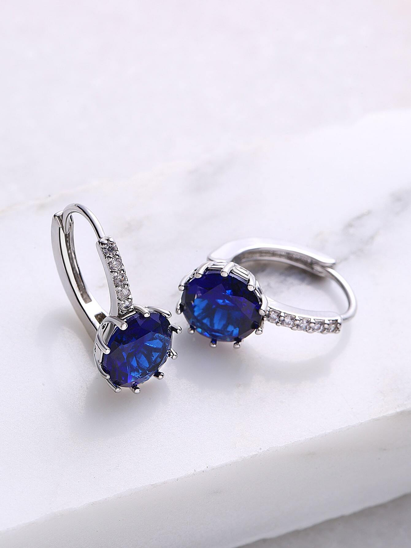 Royal Blue Rhinestone Hoop Earrings