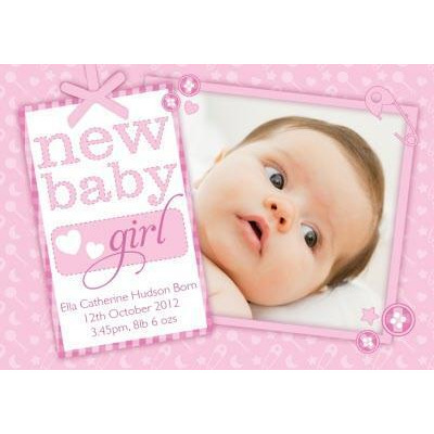 Personalised New Baby Girl Card - Congratulations Greeting Card from - greeting for new baby girl