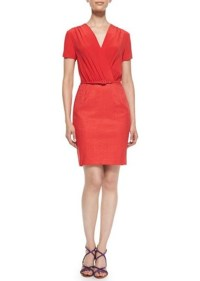 Magaschoni Magaschoni Silk & Herringbone Sheath Dress ...