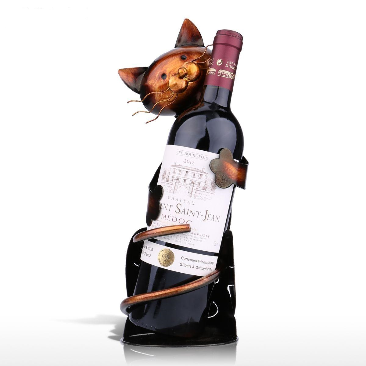 Wine Holder Stand Cat Wine Rack Wine Holder Shelf Metal Sculpture Practical Sculpture Wine Stand Home Decoration Interior
